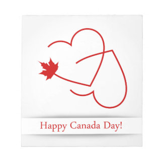 Love for Canada card with maple leaf and red heart Notepad