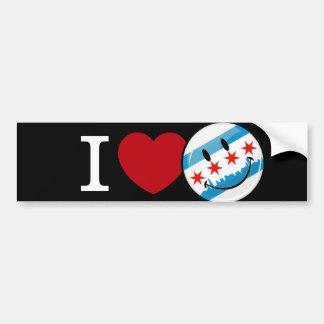 Love for Chicago Smiling Flag Bumper Sticker