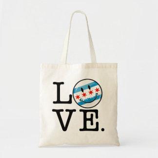 Love for Chicago Smiling Flag Tote Bag