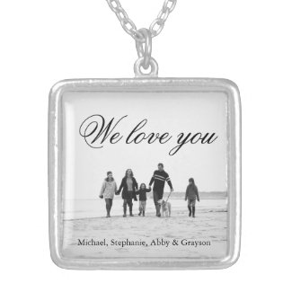 Love for Mom Family Photo Necklace Plated with Sterling Silver Chain length: 18