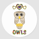 Love for Owls Round Stickers
