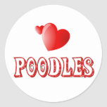 Love for Poodles Round Stickers