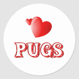 Love for Pugs Round Stickers