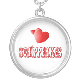Love for Schipperkes Round Pendant Necklace