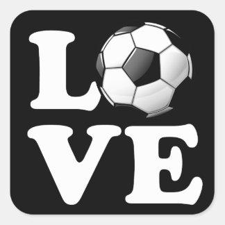 Love For Soccer Glossy Soccer Ball Square Sticker