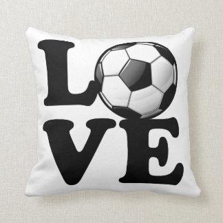 Love For Soccer Glossy Soccer Ball Throw Pillow