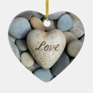 Love forever Double-Sided heart ceramic christmas ornament