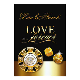 Love Forever Las Vegas Wedding | gold black Card