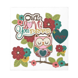 love forever owl note pad