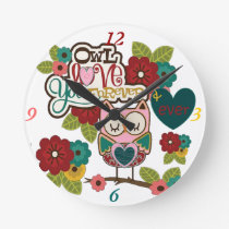 love forever owl round clock