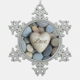 Love forever snowflake pewter christmas ornament