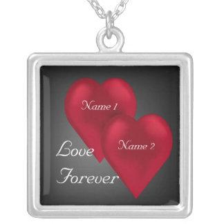 Love Forever Velvet Hearts Square Necklace