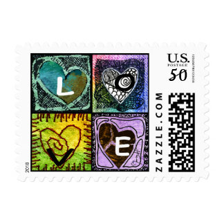 Love - Four Colorful and Unique Hearts Postage