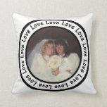 Love Frame Circle Add Your Photo Throw Pillows