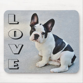 Love French Bulldog Black And White Puppy Dog Mouse Pad
