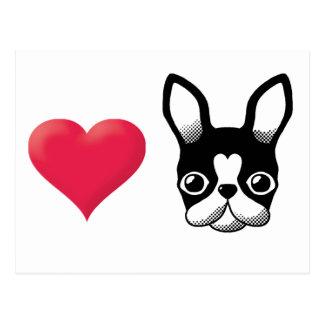 Love French Bulldog/Boston Terrier2 Postcard