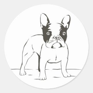 Love French Bulldog Puppy Dog  Black Illustration Classic Round Sticker
