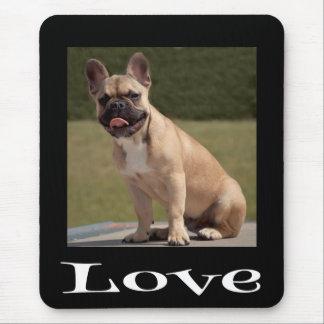 Love French Bulldog Puppy Dog Black  Mousepad