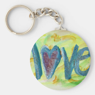 Love Fresh Spring Artwork Word Painting Keychain