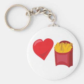Love Fries!  Customizable: Basic Round Button Keychain