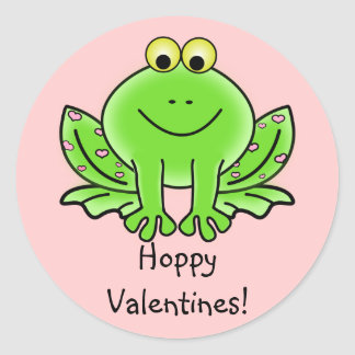 Love Frog Funny Greeting: Hoppy Valentine's Day Classic Round Sticker
