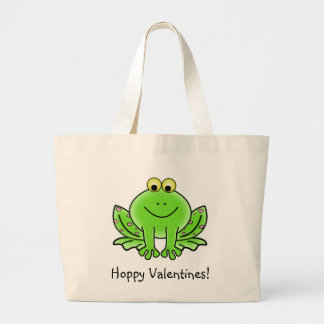 Love Frog Funny Greeting: Hoppy Valentine's Day Large Tote Bag