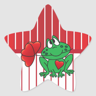 Love Frog on Red and White Stripes Star Sticker