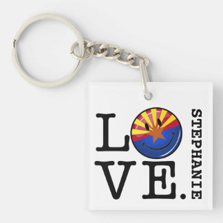 Love From Arizona Smiling Flag Single-Sided Square Acrylic Keychain