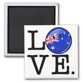 Love from Australia Smiling Flag 2 Inch Square Magnet