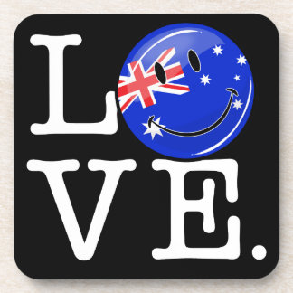 Love from Australia Smiling Flag Beverage Coaster