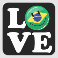 Love from Brazil Smiling Face Square Sticker