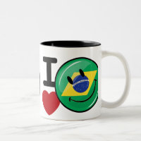 Love from Brazil Smiling Face Two-Tone Coffee Mug