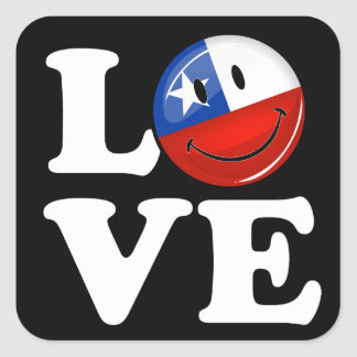 Love From Chile Smiling Chilean Flag Square Sticker