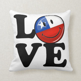 Love From Chile Smiling Chilean Flag Throw Pillow