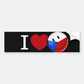 Love From Czech Republic Smiling Flag Bumper Sticker