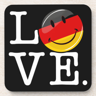 Love From Germany Smiling Flag Drink Coasters