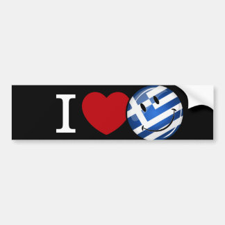 Love From Greece Smiling Flag Bumper Sticker