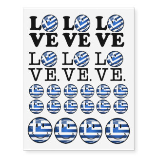 Love From Greece Smiling Flag Temporary Tattoos
