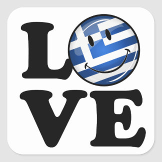 Love From Greece Smiling Greek Flag Square Sticker