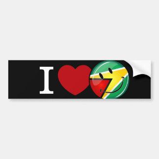 Love From Guyana Smiley Guyanese Flag Bumper Sticker