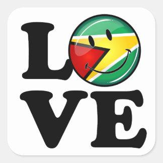 Love From Guyana Smiley Guyanese Flag Square Sticker