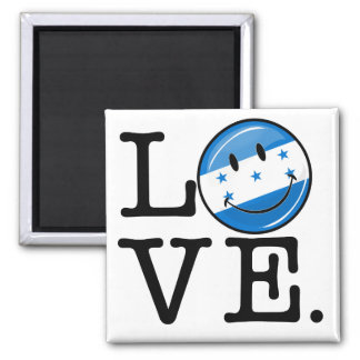 Love From Honduras Smiling flag 2 Inch Square Magnet