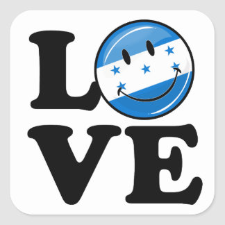 Love From Honduras Smiling flag Square Sticker