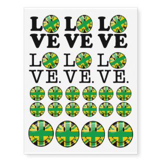 Love from Jamaica and Britain Temporary Tattoos