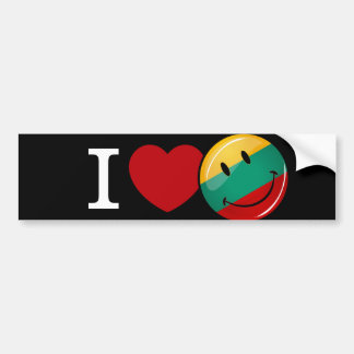 Love From Lithuania Smiling Flag Car Bumper Sticker