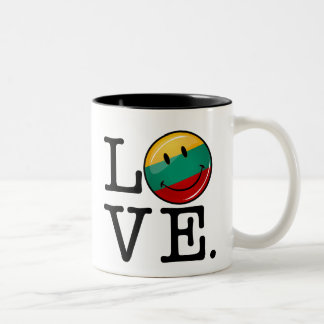 Love From Lithuania Smiling Flag Two-Tone Coffee Mug