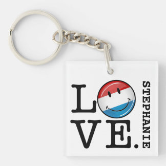 Love From Luxembourg Smiling Flag Keychain