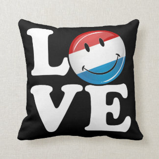 Love From Luxembourg Smiling Flag Throw Pillow