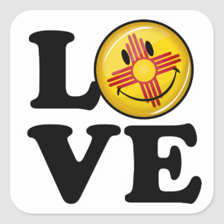 Love from New Mexico Smiling Flag Square Sticker