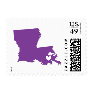 Love from New Orleans, LA in Purple Postage Stamp